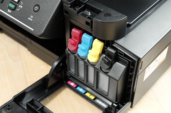 Close-up of an inkjet printer