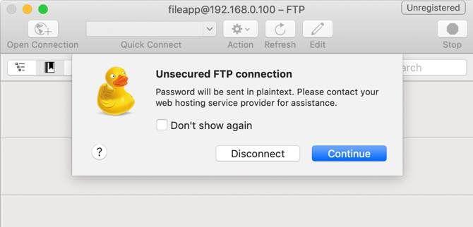 Предупреждение незащищенного FTP в CyberDuck