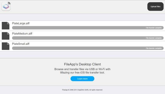 Загрузка файлов в FileApp из браузера