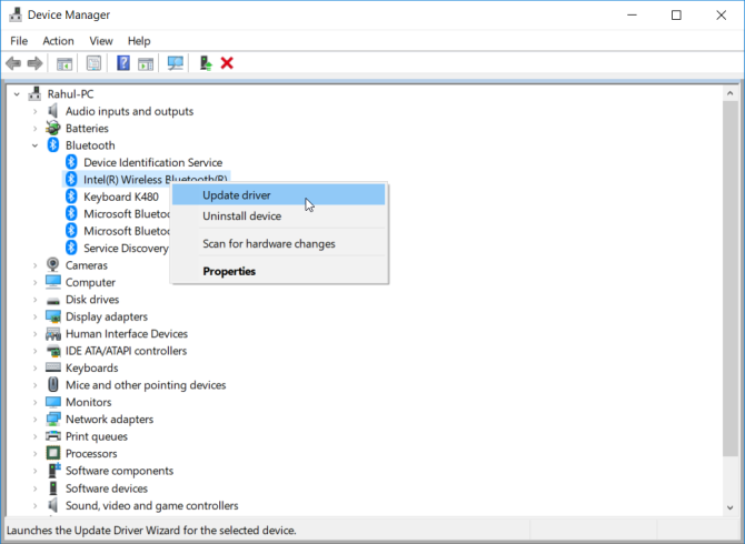 update drivers through device manager