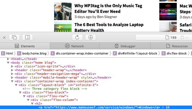 sample webpage data in Safari web inspector on Mac