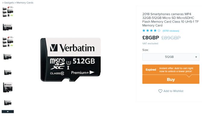 wish verbatim fake microsd card