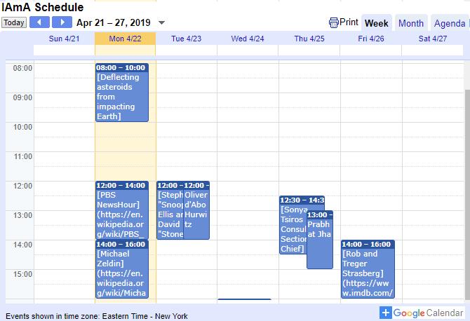 Reddit AMA Calendar