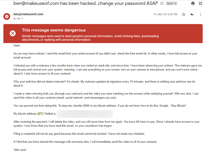 Bitcoin Extortion Email 1
