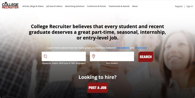 College Recruiter Job Search Main Page