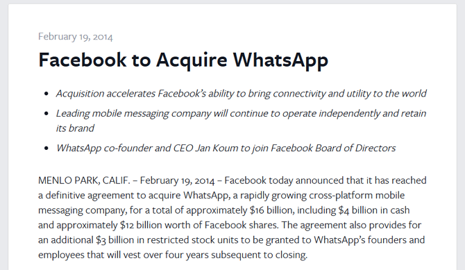 Screenshot of the Facebook news release annoucing the WhatsApp aquisition