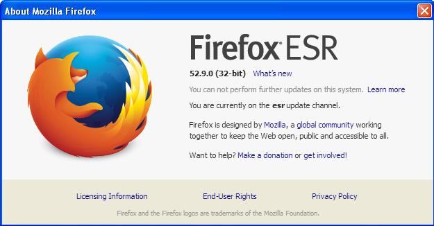 Firefox Windows XP Unsupported