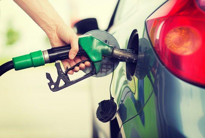Refueling a car at a gasoline pump