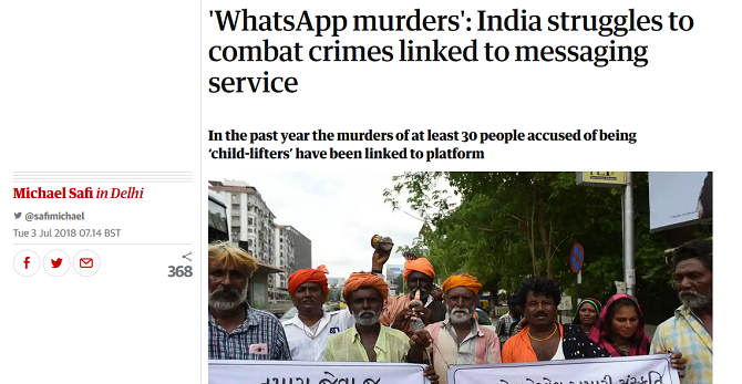 Screenshot of a Guardian news story on WhatsApp's fake news problem in India