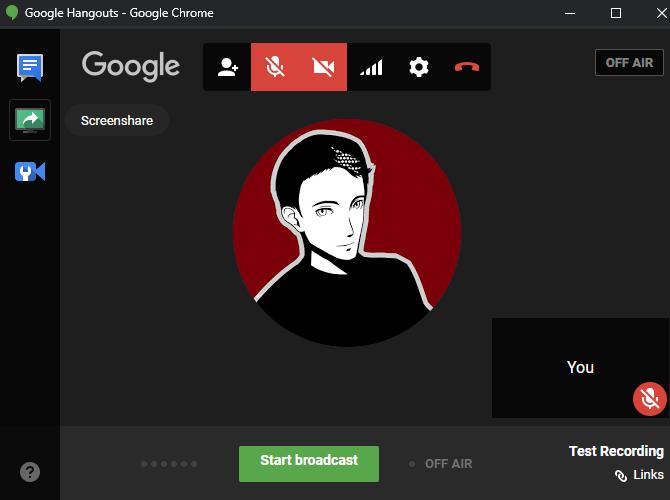 Hangouts on Air Screenshare