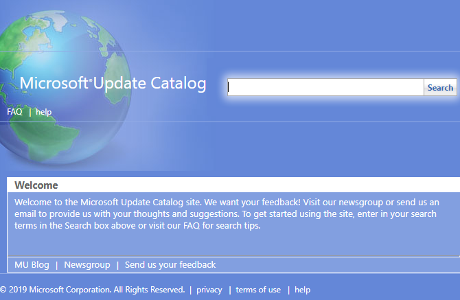 Microsoft Update Catalog Home