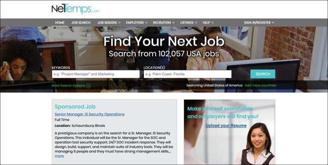 NetTemps Job Search Main Page