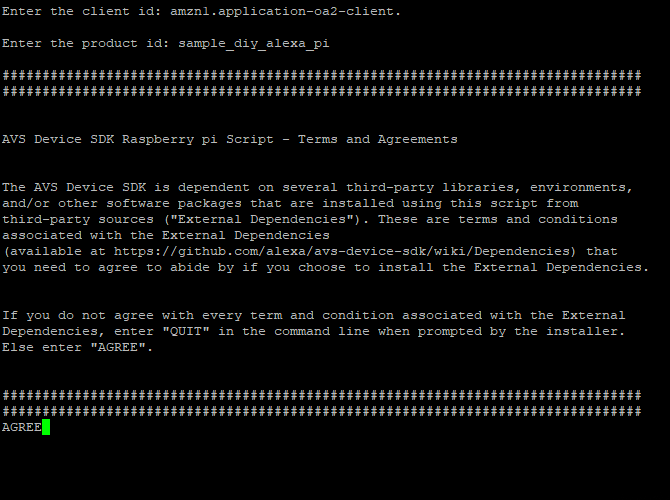 Raspberry Pi Alexa SDK Conditions Agreement