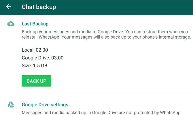 Screenshot of WhatsApp's backup settings on Android