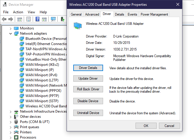 Windows 10 Device Manager Update Roll Back