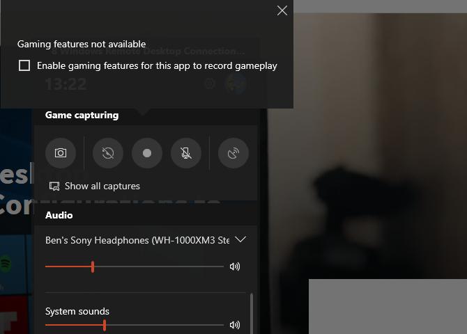 Windows 10 Game Bar Overlay