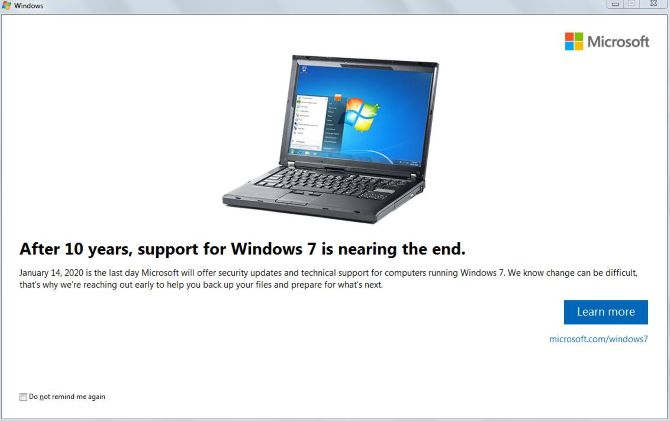 Windows 7 End of Life Message