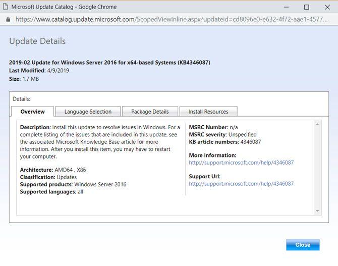 Windows Update Catalog Details Screen