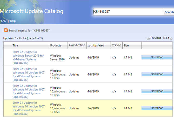 Windows Update Catalog Search