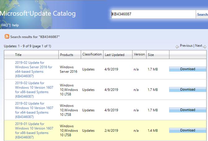 Windows Update Catalog Search