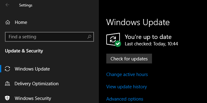 Windows Update Up to Date