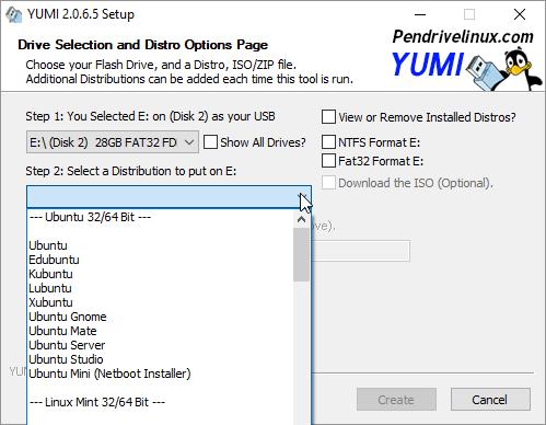 YUMI Distro selection menu