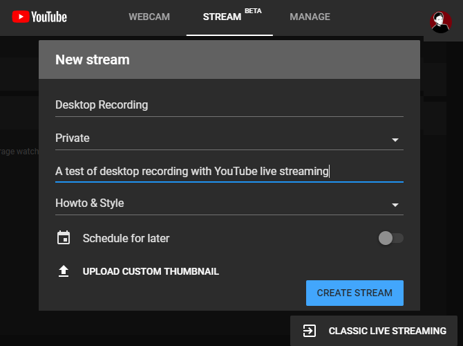 YouTube Classic Live Streaming Button