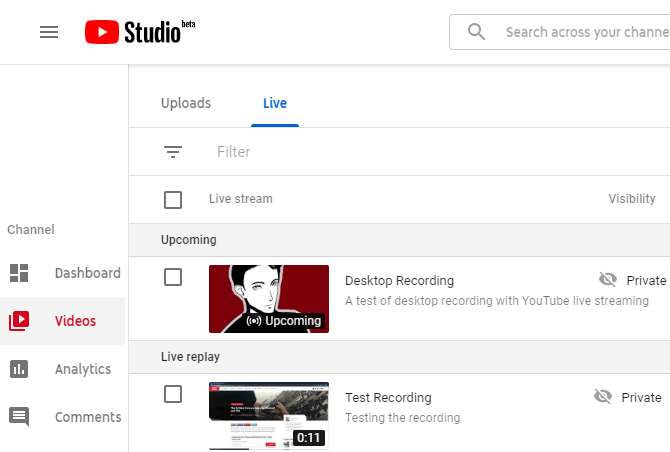 YouTube Live Archive