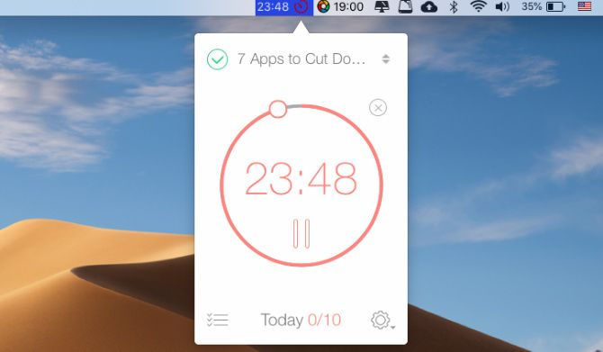 Be Focused, a Pomodoro timer for Mac