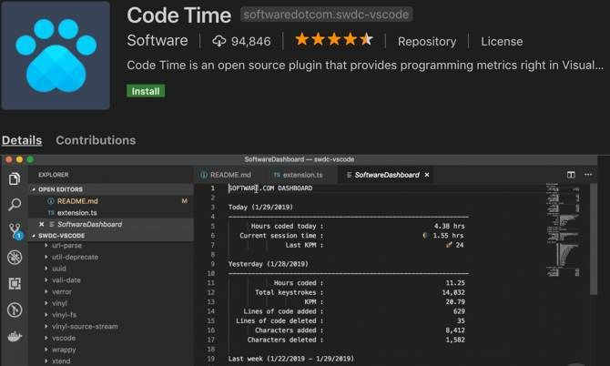 Code Time extension for Visual Studio Code