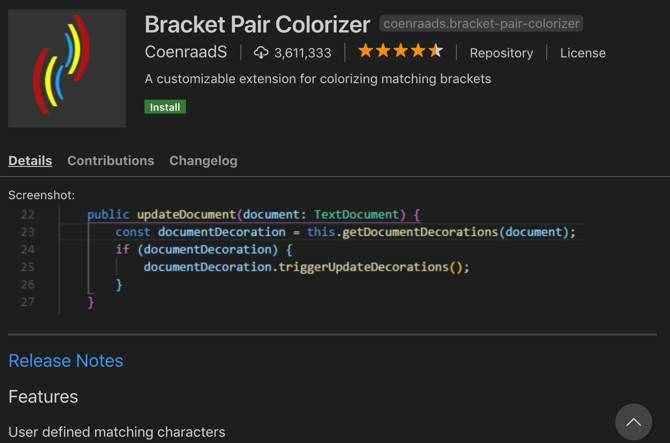 Bracket Pair Colorizer extension for Visual Studio Code
