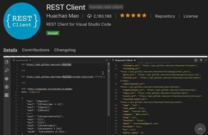 REST Client extension for Visual Studio Code