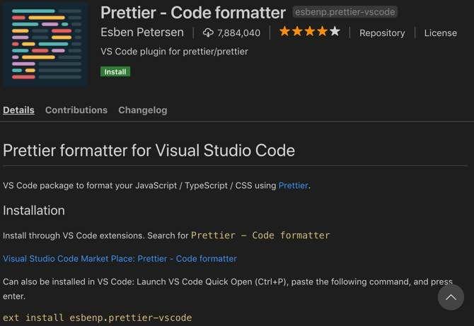 Prettier extension for Visual Studio Code