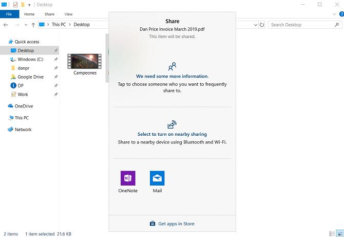 file explorer share menu