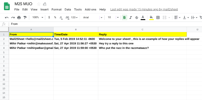 Mail2Sheet turns Gmail replies into a spreadsheet