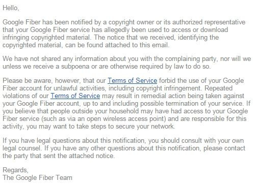 google fiber dmca copyright infringement notice