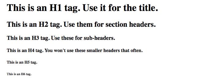 html header tags