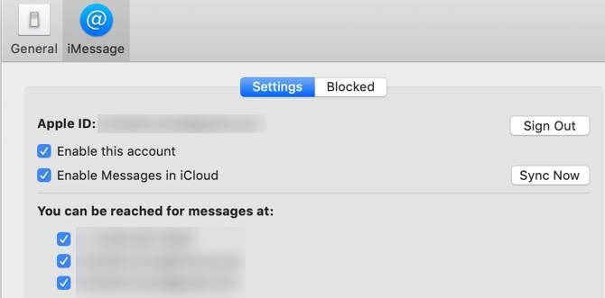 Viewing enabled iMessage numbers and email address on macOS