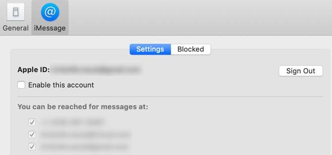 iMessage disabled on macOS