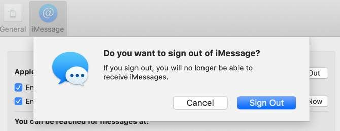 Signing out of iMessage on macOS