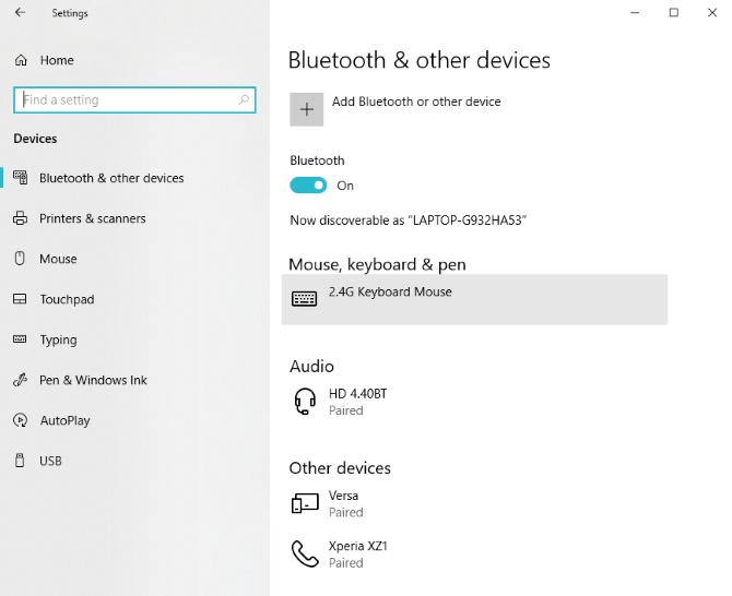 Bluetooth settings Windows 10