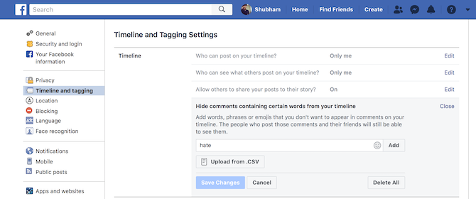 Mute comments with certain words on facebook