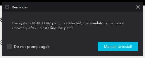Nox warning about a Windows 10 patch