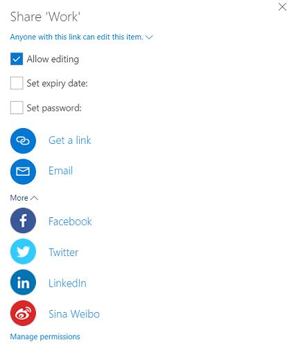 share onedrive web app
