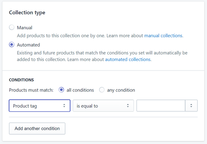 Shopify Collections Types and Conditions
