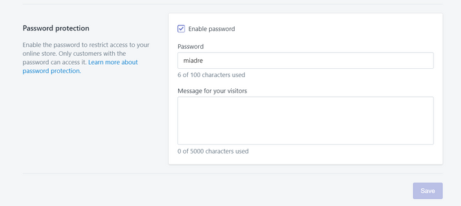 Shopify Store Password Protection