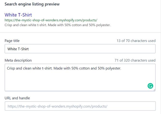 Shopify SEO Web Description