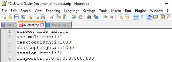 configuración del escritorio remoto de Windows tamaño del escritorio
