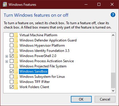 Activate the Windows sandbox