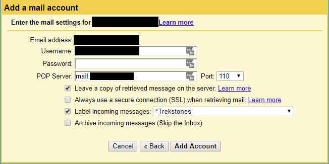 Add an email account to Gmail using POP3.